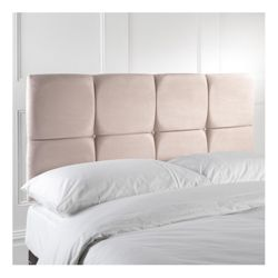 Nico King Faux Suede Headboard, Cream