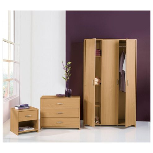Ashford Triple Wardrobe Set, Beech-Effect