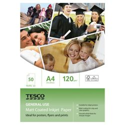 Tesco A4 General use Matt coated inkjet Paper - 50 Sheets