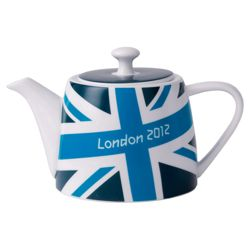 Johnson Bros London 2012 Union Jack Bright Teapot, Blue, White and Green