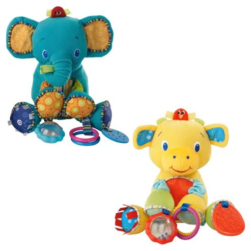Bright Starts Bunch-O-Fun, Elephant & Cow - Assortment – Colours & Styles May Vary