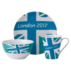 Johnson Bros London 2012 Union Jack Bright 3 piece Set, Blue, White and Green.
