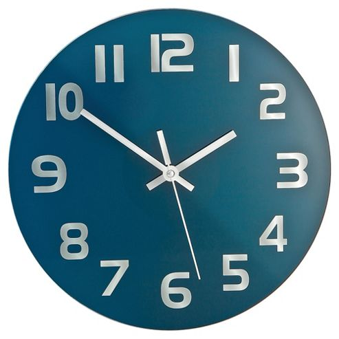 Tesco Clocks Modern Glass Wall Clock Teal