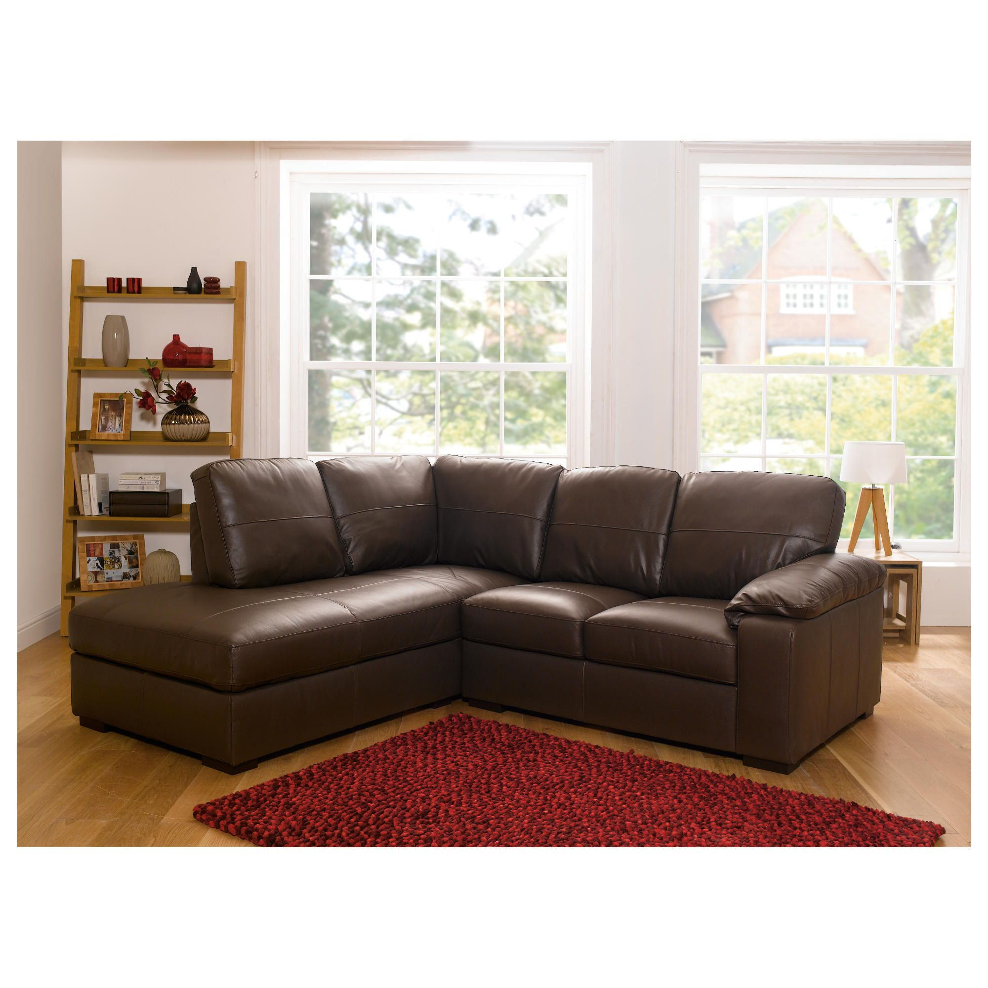 Ashmore Leather Corner Sofa, Brown Left Hand Facing at Tesco Direct