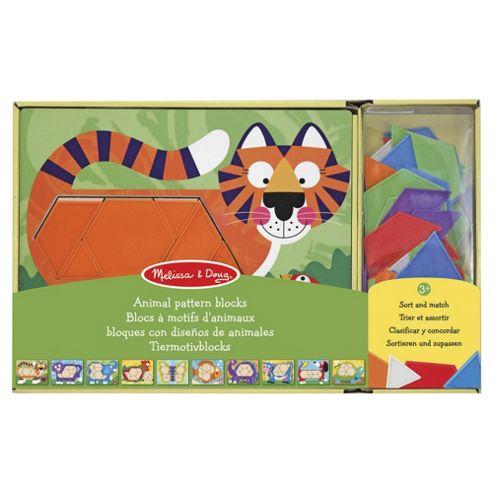 Melissa & Doug Wooden Animal Pattern Blocks Educational Game