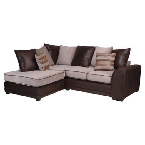 Inca Leather Effect & Fabric Corner Sofa, Mocha Left Hand Facing