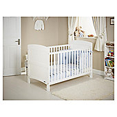 Obaby Grace 4 Piece Cot Bed Set, White Cot Bed With Blue Bedding (includes mattress, quilt & bumper)