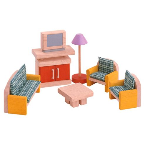 Plan Toys Living Room Neo Dolls House Wooden Toy Furniture Set