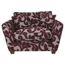 Richmond Fabric Snuggler Chair, Plum