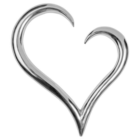 Metal Heart Wall Sculpture, Silver