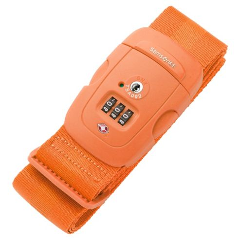 Samsonite Suitcase Luggage Strap with 3-Dial Combination Lock, Orange
