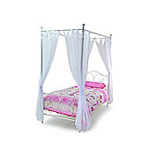 White & Gold Metal Four Poster Including Drapes - Single 3ft