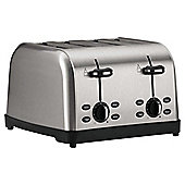 Tesco 4TSS11 4 Slice Toaster, Brushed Stainless Steel