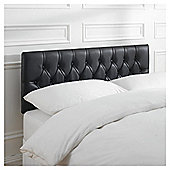 Preston Double Faux Leather Headboard, Black