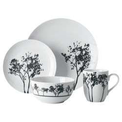 Tesco Shadow Tree 16 Piece, 4 Person Dinner Set - White