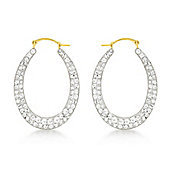 9ct Yellow Gold Crystalique Oval Earrings