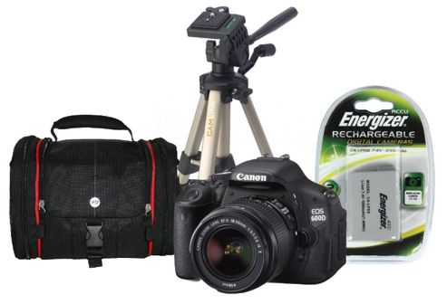 Canon EOS 600D SLR Bundle Kit with 18-55mm lens, Tripod, SLR Case, Spare Battery