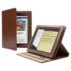 Cygnett Windsor Brown Premium Leather Folio Stand Case for Apple iPad 2