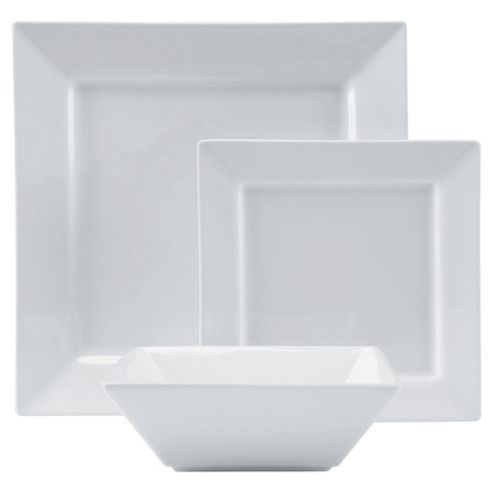 Tesco 12 Piece, 4 Person Square Porcelain Dinner Set - White