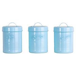 Tesco Enamel Tea, Coffee and Sugar Canister Set, Duck Egg