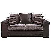 Inca Medium Leather Effect & Fabric Sofa, Charcoal