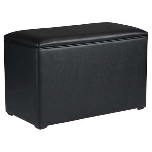 Seetall Ottoman Black Faux Leather