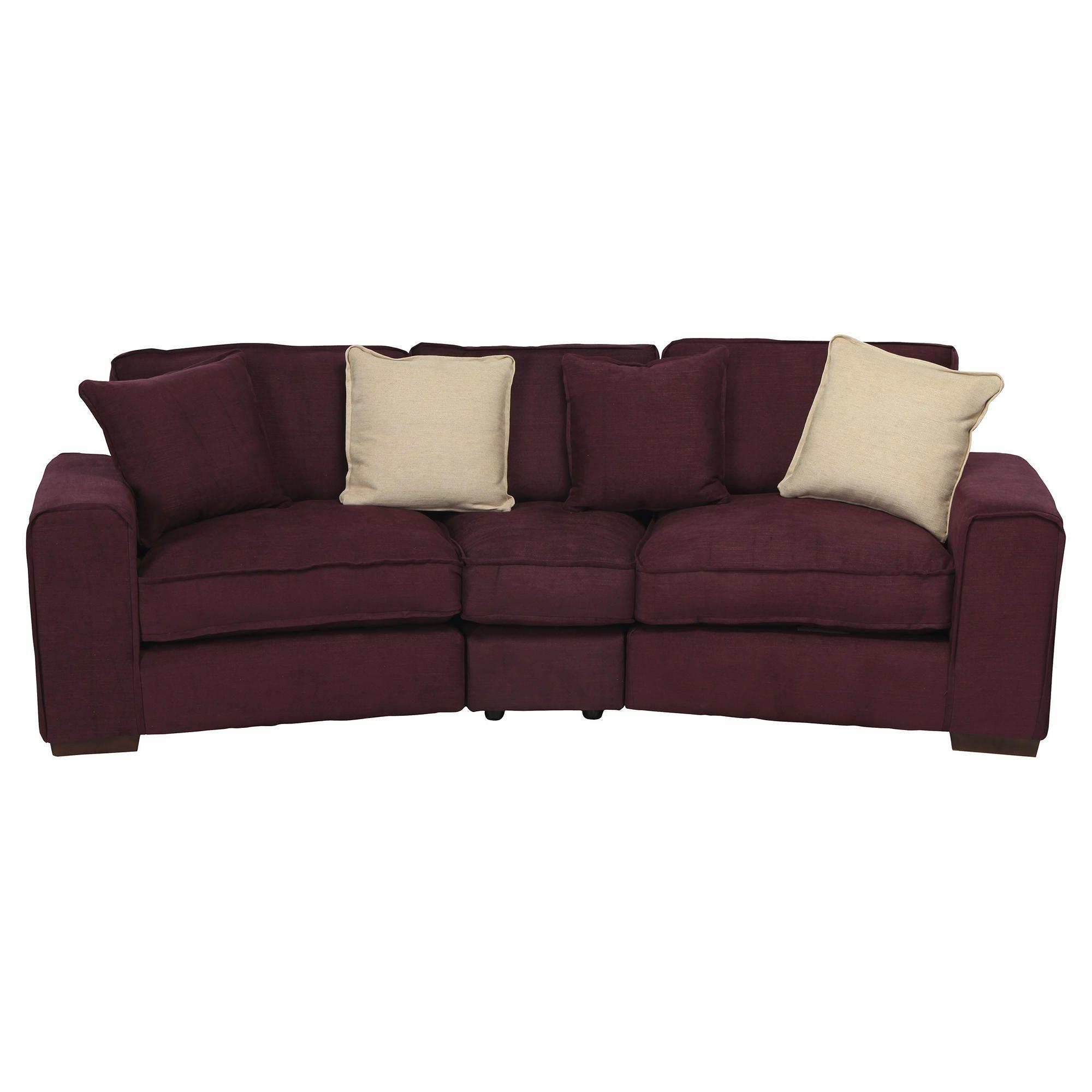 Omega Fabric Curved Sofa, Aubergine at Tesco Direct