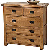 Cotswold Rustic Solid Oak 2 + 3 Chest Of Drawers