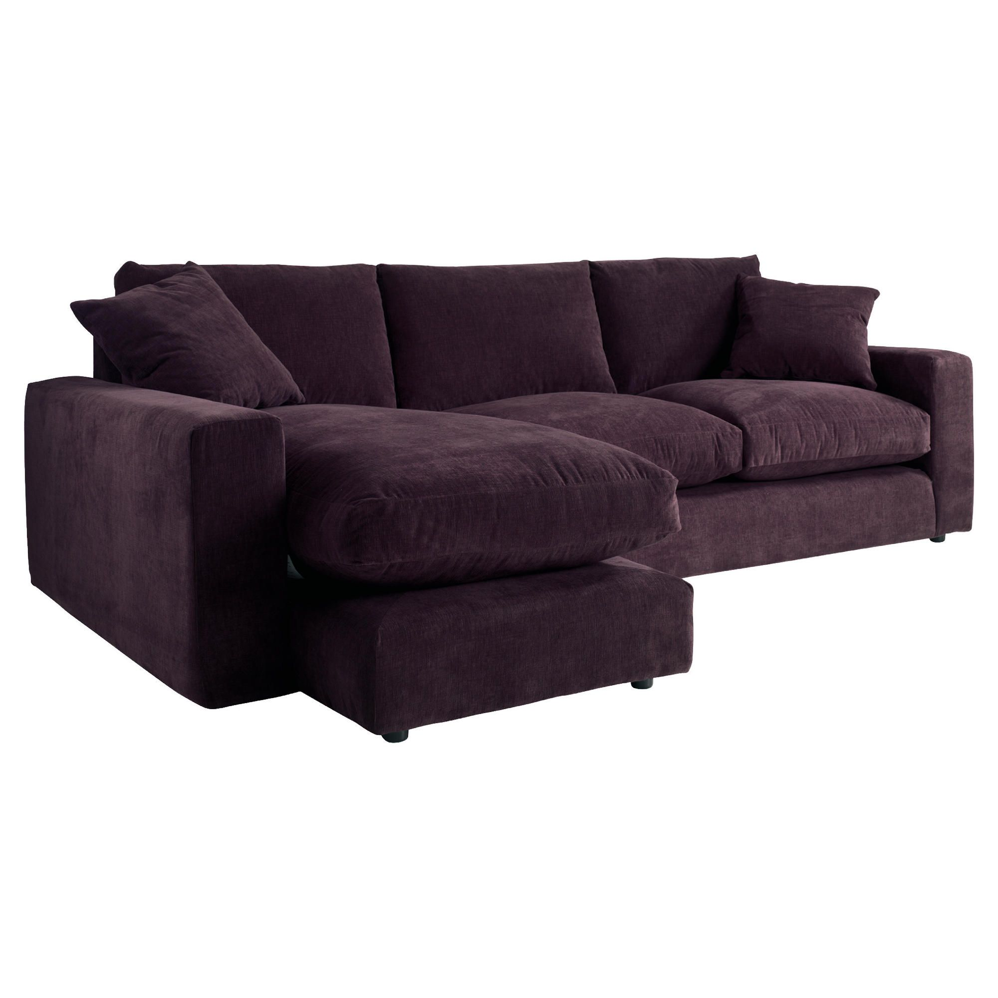Valentino Chaise Sofa, Plum Left Hand Facing at Tescos Direct
