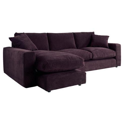 Valentino Chaise Sofa, Plum Left Hand Facing