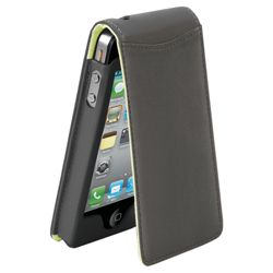 Orbyx iPhone 4 Black Leather Flip Case