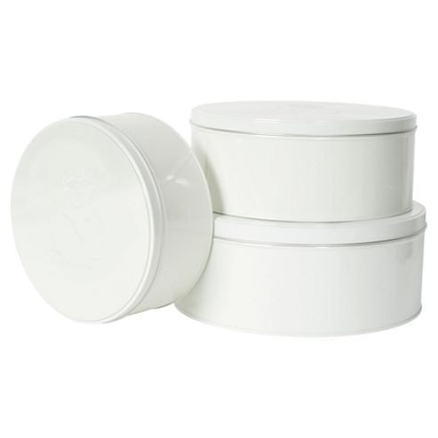 Nigella Lawson Living Kitchen Set of 3 Cake and Biscuit Tins, Cream