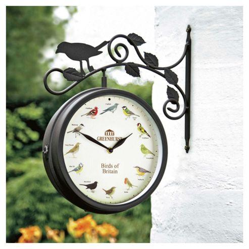 buy greenhurst birds of britain garden clock thermometer. Black Bedroom Furniture Sets. Home Design Ideas