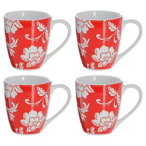 Tesco Floral Set of 4 Mugs, Red
