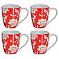Tesco Floral Set of 4 Mugs, Red.