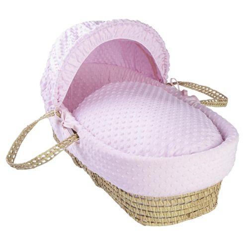 Clair de lune Dimple Moses Basket, Pink