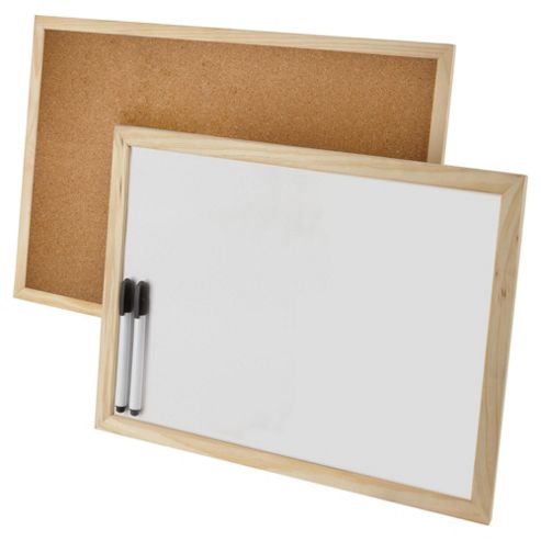 Corkboard and whiteboard set