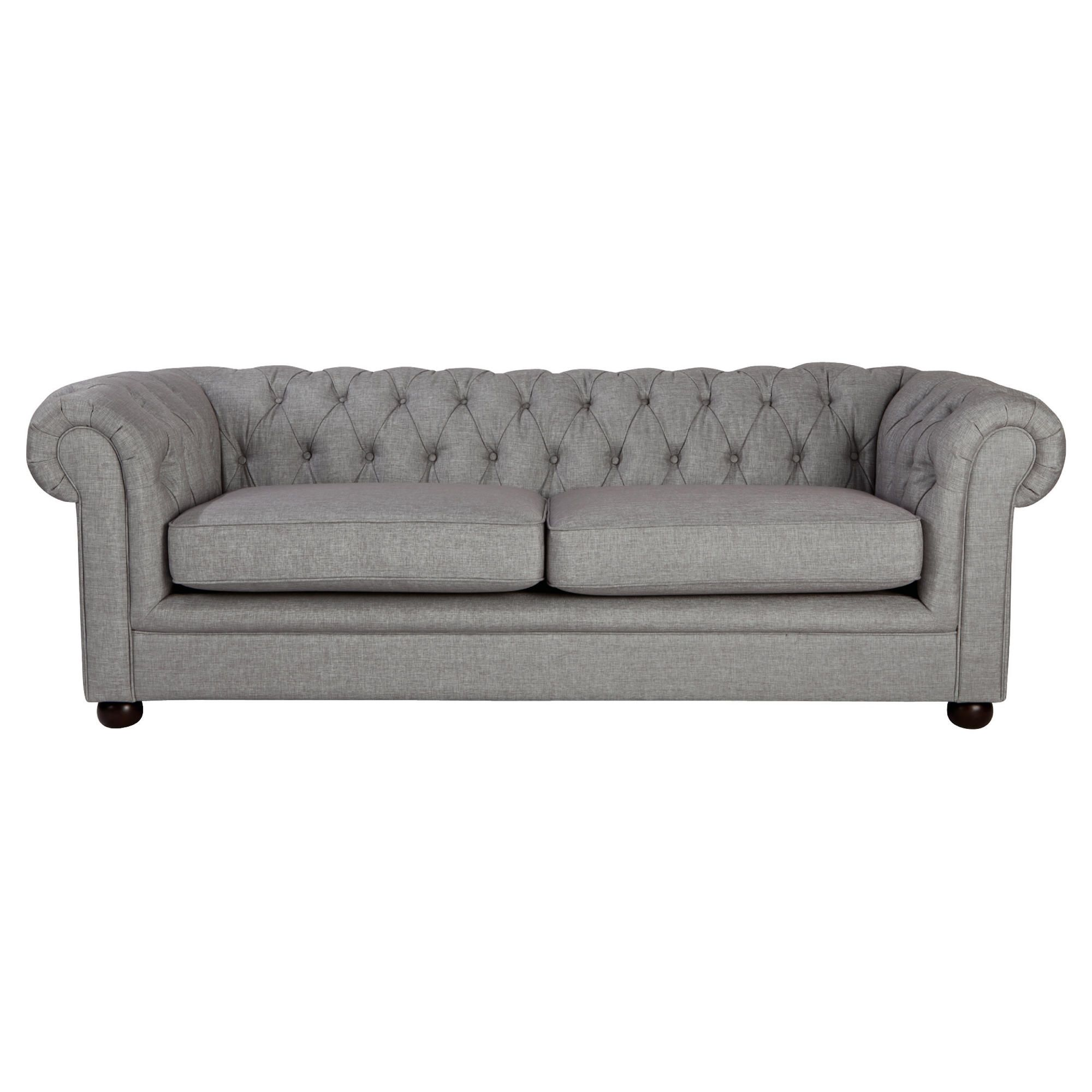 Chesterfield Linen Medium Sofa, Silver at Tesco Direct