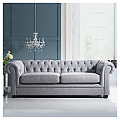 Chesterfield Linen Medium Sofa, Silver