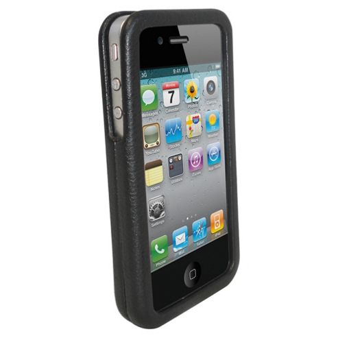 Orbyx Hard Leather Case with Screen Protector iPhone 4 Black