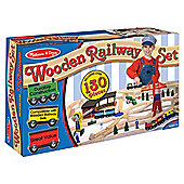 Melissa & Doug Wooden Toy Railway Set