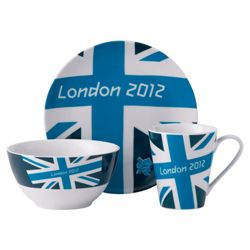 Johnson Bros London 2012 Union Jack Bright 3 piece Set, Navy, Blue and White.