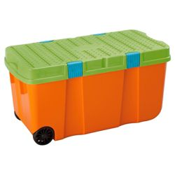 100L Tuff box with lid, orange & green
