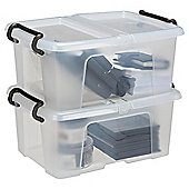 Strata 12 Litre Plastic Storage Box with Lid, 2-Pack
