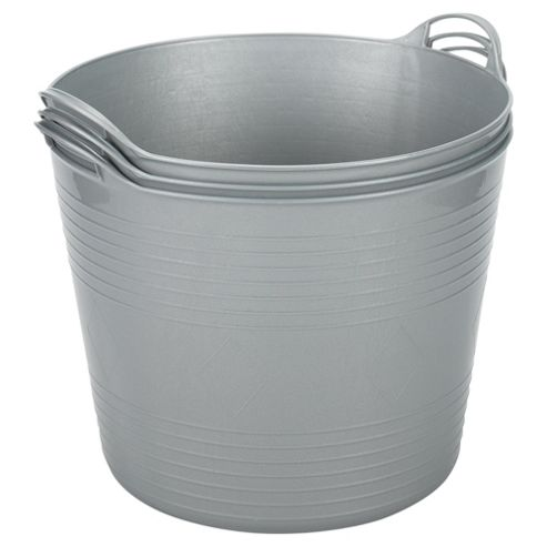 42L Flexi Tub 3 Pack, Silver