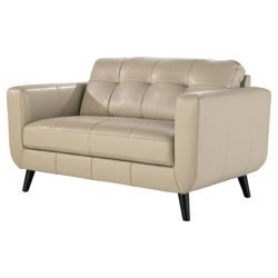 Lorenzo Leather Small Sofa Taupe