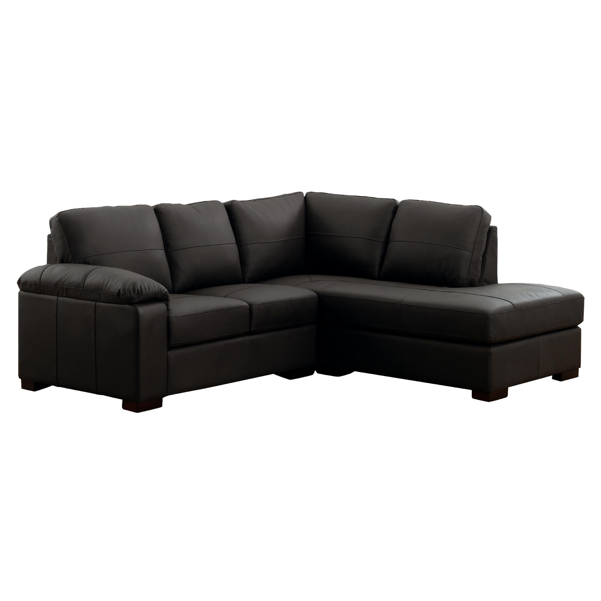 Ashmore Leather Corner Sofa, Black Right Hand Facing at Tesco Direct