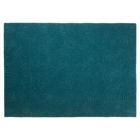 Tesco Rugs Embossed Floral Rug Teal 120X170Cm