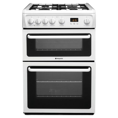 Hotpoint HAG60P, White, Gas Cooker,  Double Oven, 60cm