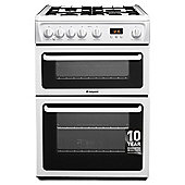 Hotpoint HAG60P, Freestanding, Gas Cooker, 60cm, White, Twin Cavity, Double Oven